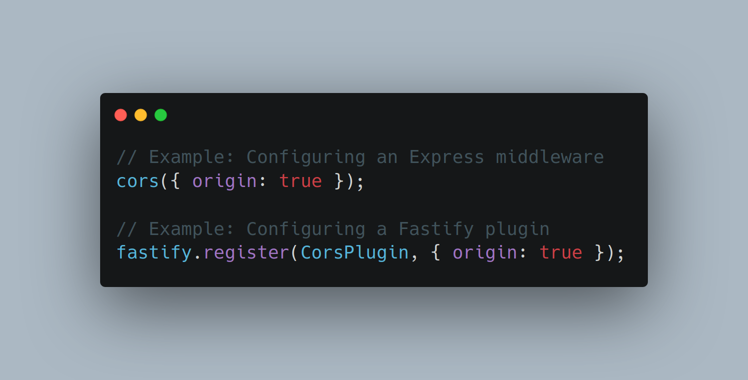 Screenshot of code showing the difference between how you configure an Express middleware and how you configure a Fastify plugin