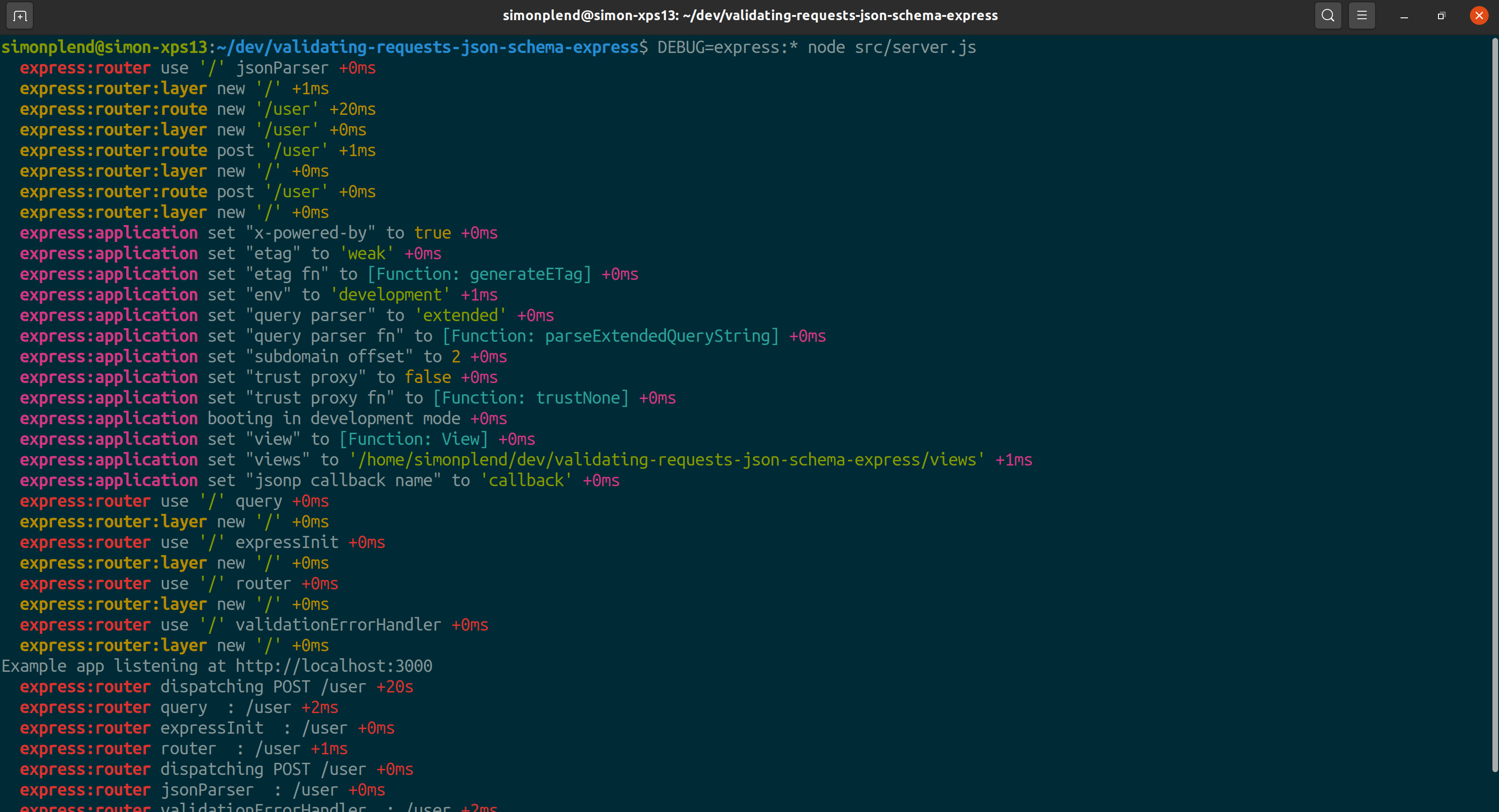 Screenshot of debug output from an Express application in a terminal