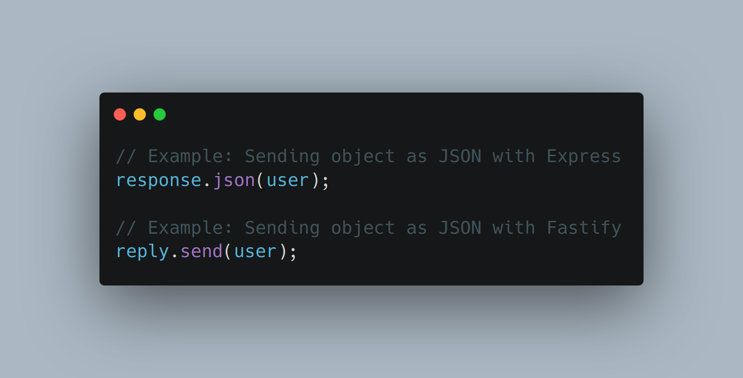 Screenshot of code showing the difference between how you send an object as JSON in Express vs Fastify