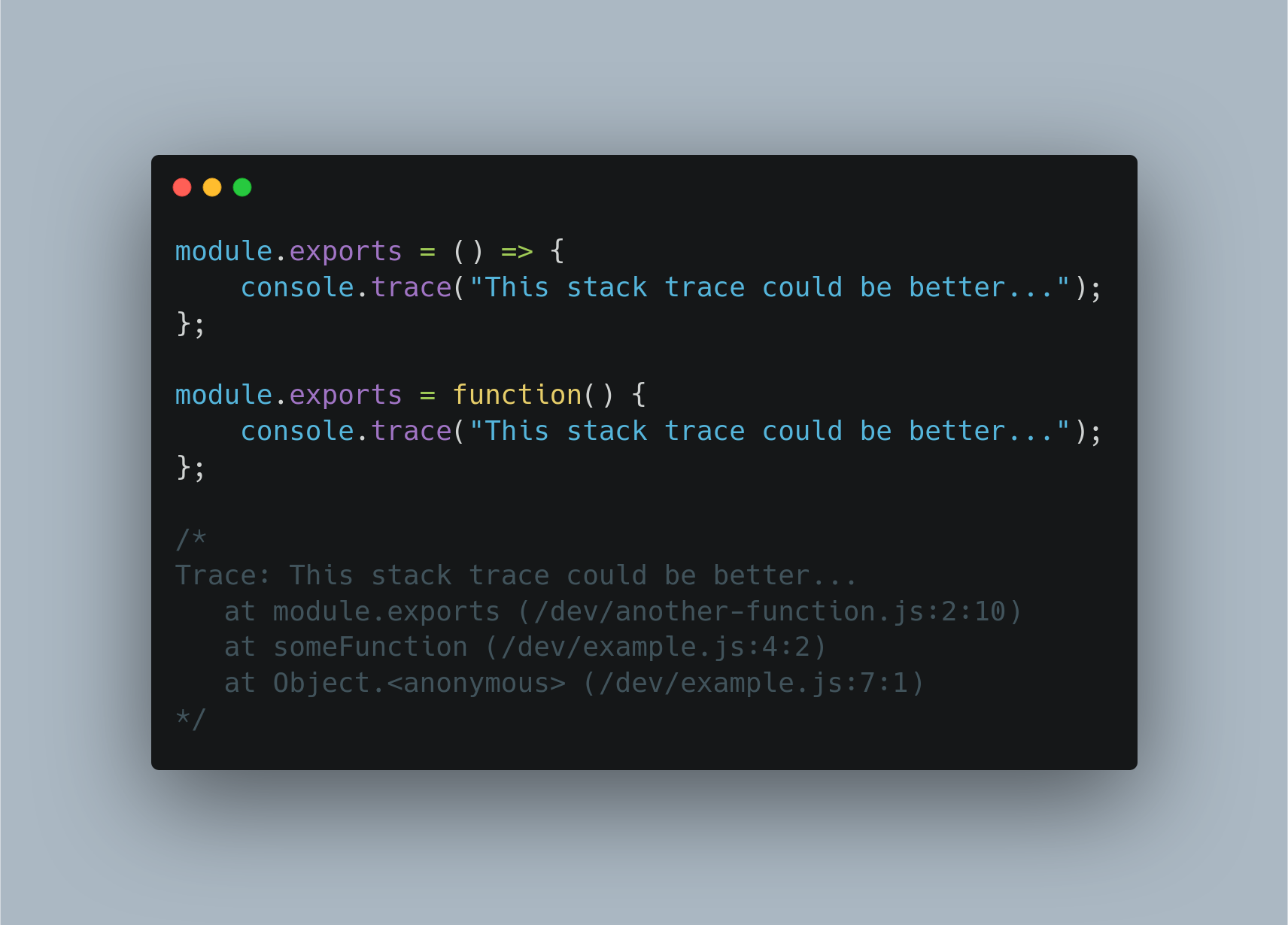 Screenshot of CommonJS module in Node.js with anonymous functions which result in a less clear error stack trace