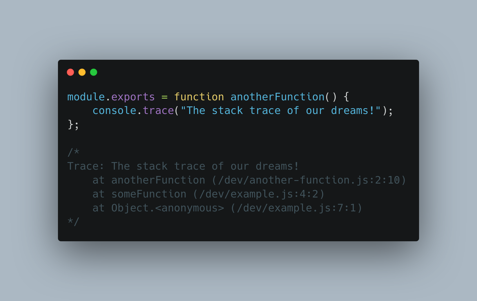Screenshot of CommonJS module in Node.js with a named function which results in a clearer error stack trace