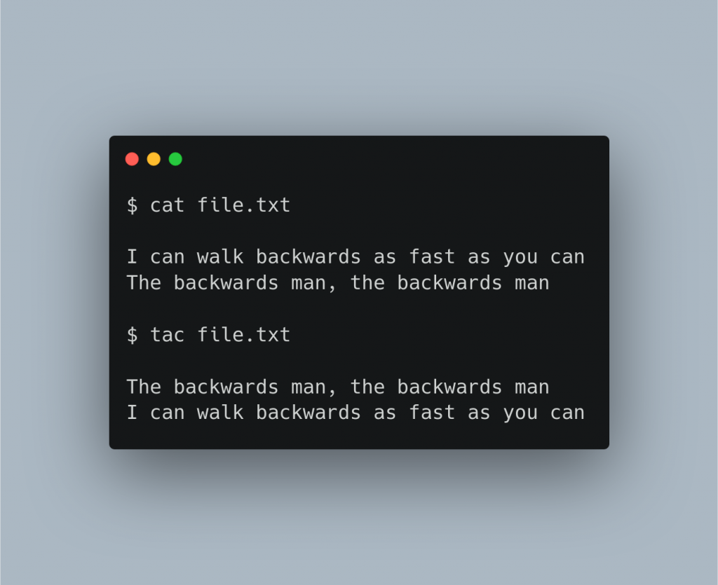 Screenshot of using cat and tac commands in a terminal